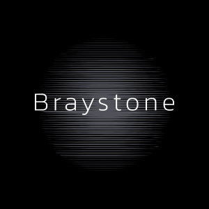 Braystone logo - black surround, white text and a grey overlay in the centre